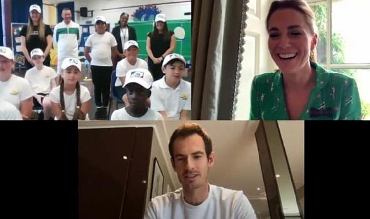 64154 Уимблдон на дому: Кейт Миддлтон и Энди Маррей поговорили со школьниками о теннисе