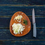 66876 Сытный ужин: кремовое ризотто с креветками и лепестками миндаля